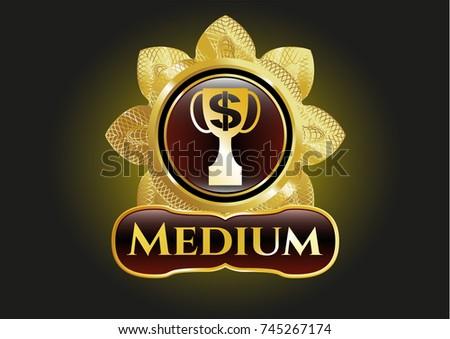 Gold Badge Emblem Trophy Money Symbol Stock Vector 745267174