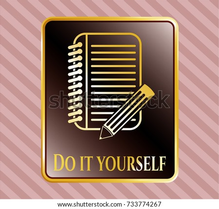 Gold emblem badge notebook pencil icon stock vector 733774267 gold emblem or badge with notebook with pencil icon and do it yourself text inside solutioingenieria Images