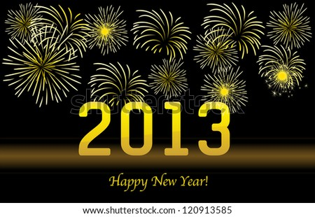 2013 Gold New year background. Vector - stock vector
