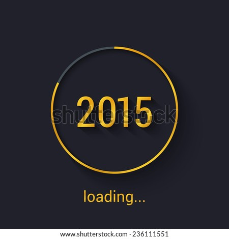 2015 Gold progress loading bar. Vector illustration. - stock vector