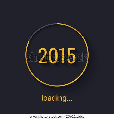 2015 Gold progress loading bar. Vector illustration. - stock vector