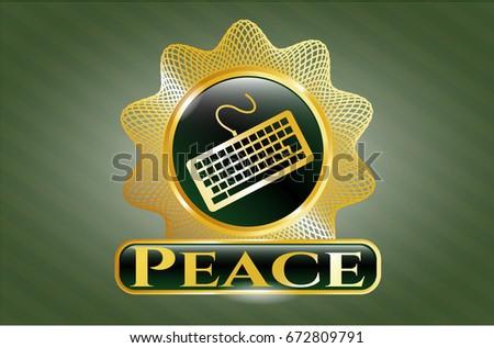 Gold Shiny Badge Keyboard Icon Peace Stock Vector 672809791