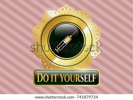 Gold shiny badge syringe icon do stock vector 741879724 shutterstock gold shiny badge with syringe icon and do it yourself text inside solutioingenieria Gallery