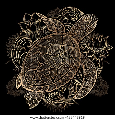 gold vector hand drawn sea turtle and lotus flowers on black background - stock vector