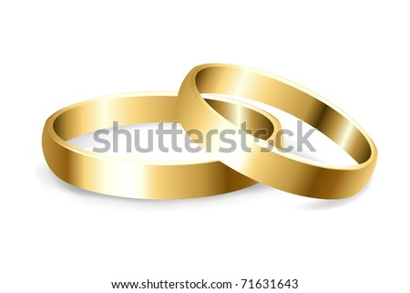 2 Gold Wedding Rings, Isolated On White Background, Vector Illustration - stock vector