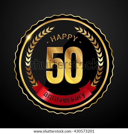 50 golden anniversary logo with red ribbon, low poly design number