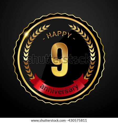 9 golden anniversary logo with red ribbon, low poly design number - stock vector