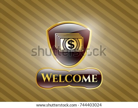 Golden Badge Money Icon Welcome Text Stock Vector Hd Royalty Free