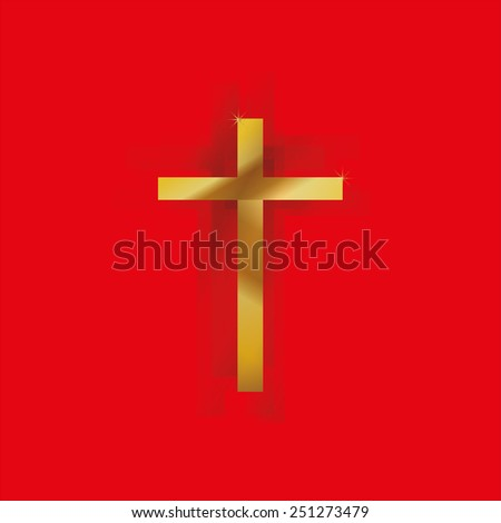 Golden Christ's cross with shadow, red background - stock vector