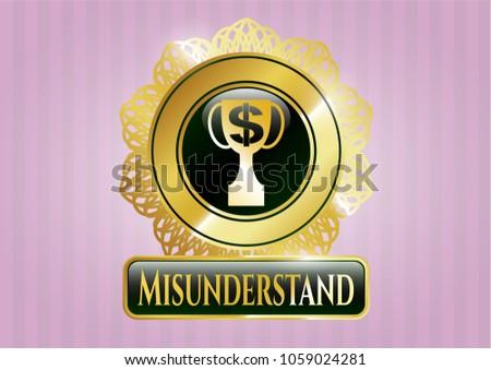 Golden Emblem Badge Trophy Money Symbol Stock Vector 1059024281