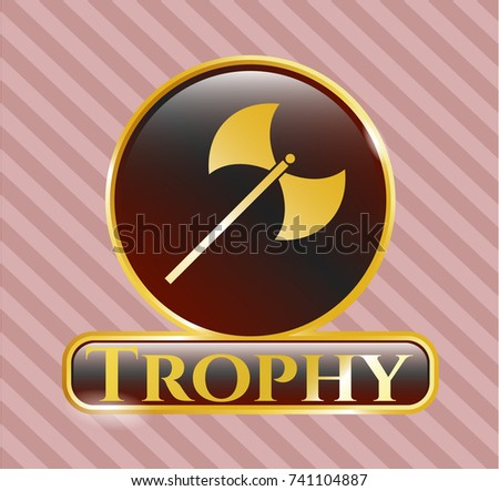 Golden Emblem Medieval Axe Icon Trophy Stock Vector Hd Royalty Free