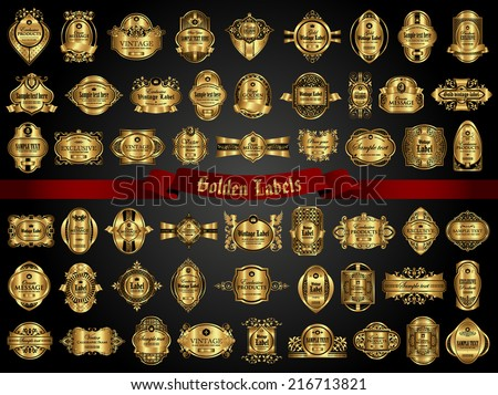 54 Golden Labels - stock vector