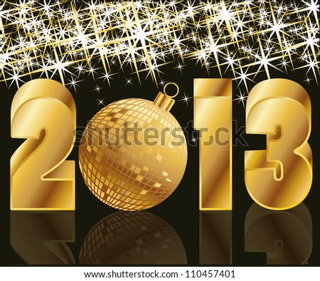 2013 Golden Year with Christmas Ball , vector illustration - stock vector