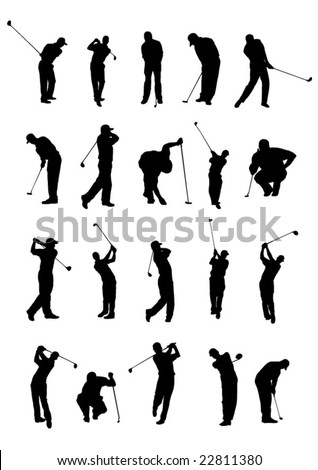 20 golf poses silhouette. - stock vector