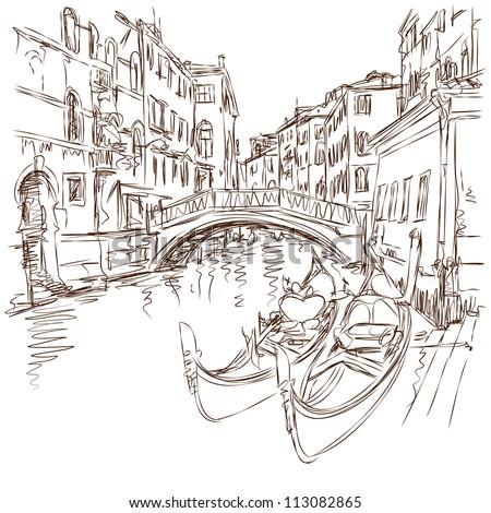 2 gondolas. Ponte del Mondo Novo, Campo S.Maria Formosa. Venice, Italy. Vector sketch - stock vector