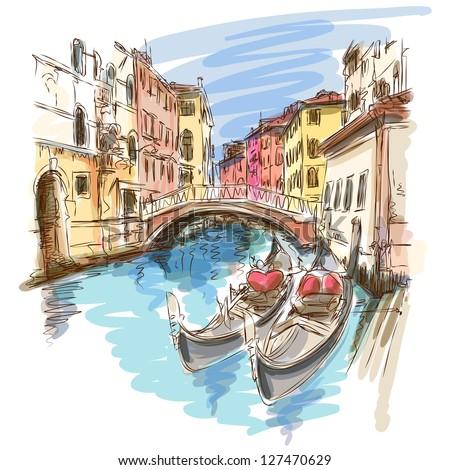 2 gondolas. Ponte del Mondo Novo, Campo S.Maria Formosa. Venice, Italy. Vector sketch. Eps10 - stock vector