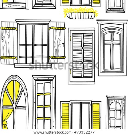 Good Morning City Seamless Pattern Windows Stock Vector ...