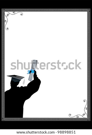 Graduation Invitation with copy space in silhouette - stock vector
