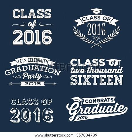 2016 Graduation Vector Set   Graduation Party, Congrats, Celebrate, High School / College Graduation Vector Set - stock vector