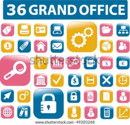 36 grand office buttons. vector - stock vector