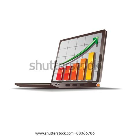 Graph goingupvectordrawing on thelaptopmonitor - stock vector