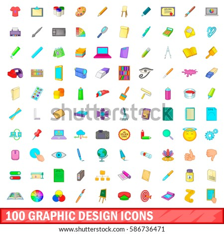 100 graphic design icons set in cartoon style for any design vector illustration