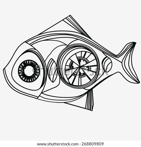 Graphic image of a mechanical fish on a white background.Vector illustration of steampunk. - stock vector
