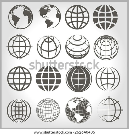 16 gray vector icons earth on a light background