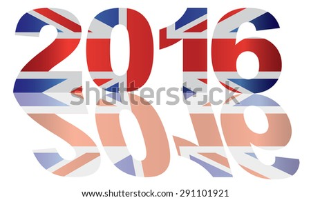 2016 Great Britain Union Jack Flag Numbers Outline Isolated on White Background Vector Illustration - stock vector
