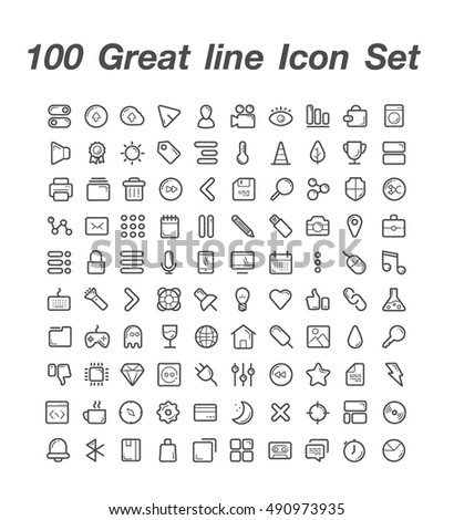 100 Great line Icon Set