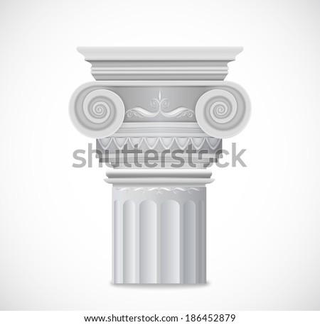 Greek Column isolated on white background. Vector - stock vector
