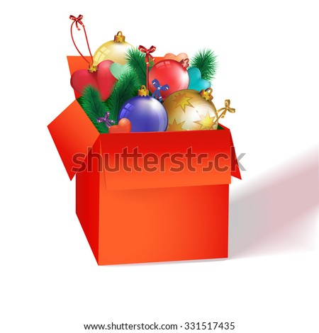 Green Box with gifts and Christmas decorations
