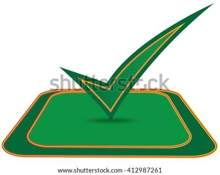 Green check mark on white background.Vector - stock vector