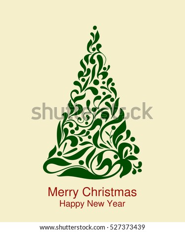 green Christmas tree with jewels on a light background. Greeting, invitation cute card. Simple decorative illustration for print, web
