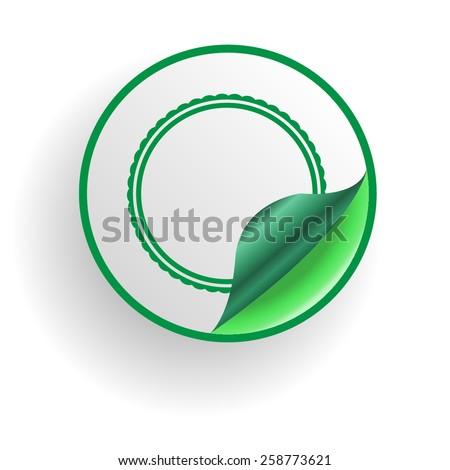 Green Circle Sticker . Vector Illustration .  - stock vector