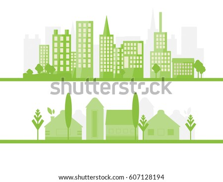 2 Green City Silhouette Flat Design Stock Vector