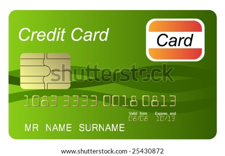 Green credit card, vector - stock vector