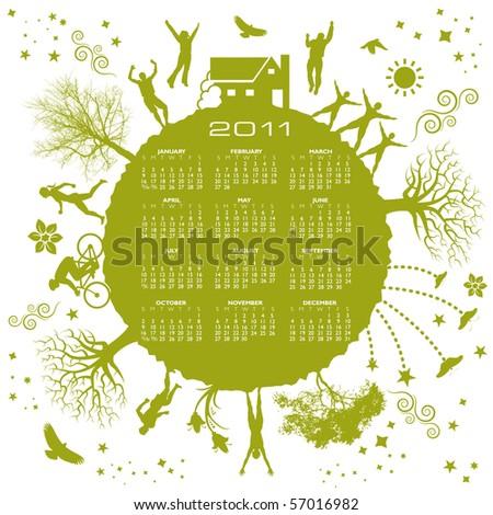 2011 green earth calendar - stock vector
