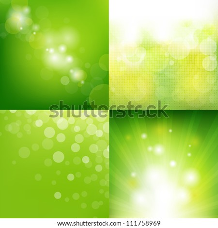 4 Green Eco Background With Blur, Vector Illustration - stock vector