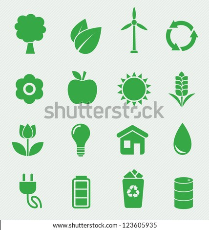 16 Green Ecology icons set - stock vector