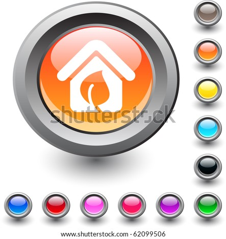 Green home  metallic vibrant round icon. - stock vector