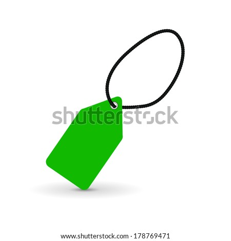 green price tag, label, vector illustration - stock vector