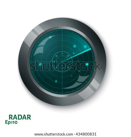 Green radar screen.  Internet button on white background. EPS10 vector. - stock vector