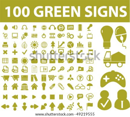 100 green signs. vector
