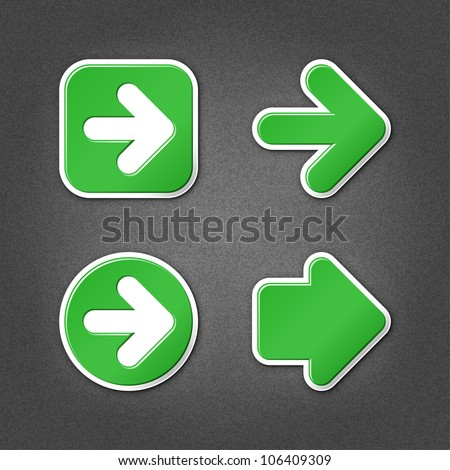 4 green sticker arrow sign web icon. Smooth internet button with drop shadow on gray background with noise effect. This vector illustration clip-art design element saved in 10 eps - stock vector