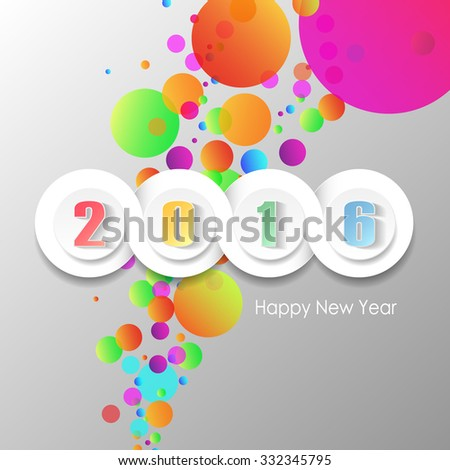 2016 greeting card on bright background