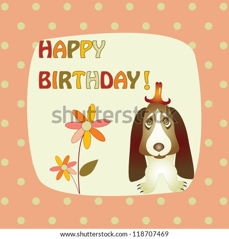 greeting card with a basset hound - stock vector