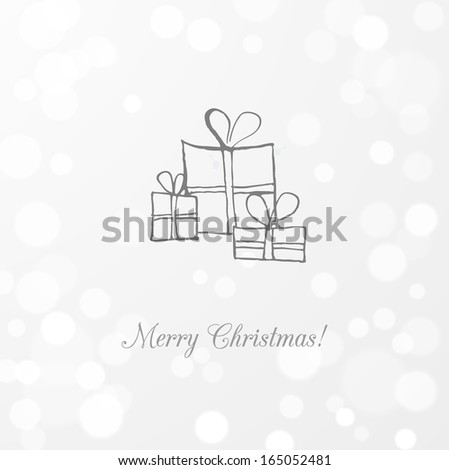 Greeting card with gift boxes. Vector sketch illustration.  - stock vector