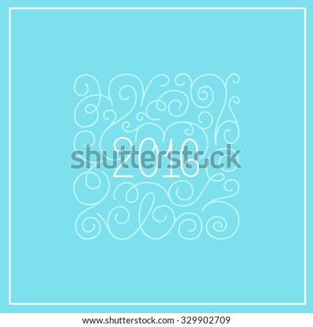 2016 - greeting card with hand-lettering - vector illustration in white colors on blue background - stock vector