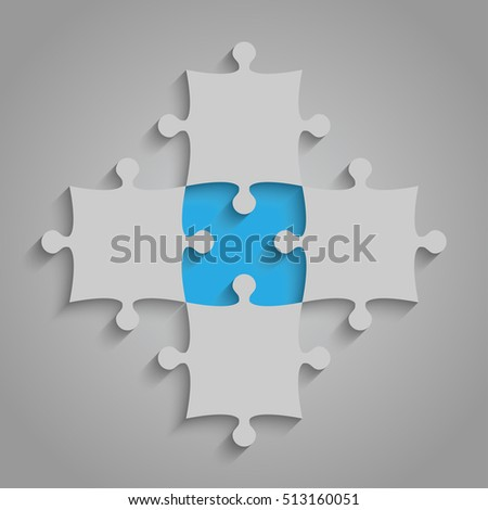 4 Grey and 1 Blue Puzzles Pieces Arranged in a Square - JigSaw - Vector Illustration. Blank Template or Cutting Guidelines. Vector Background and Web Design.